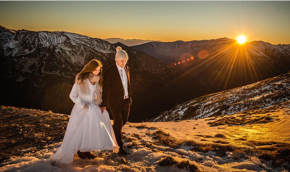 fotografie ślubne Piotrków Trybunalski - sesja plenerowa na Kasprowym Wierchu